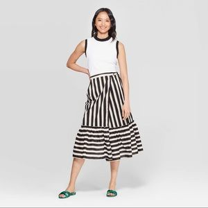 Who What Wear Striped Ruffled Hem Midi Skirt NWT